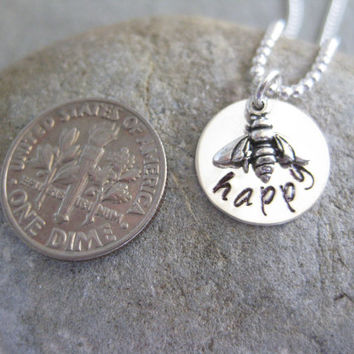 Bee Happy Bumble Bee Sterling Silver Personalized Necklace Graduation Gift
