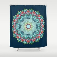 Teal Mandala Shower Curtain -  dark flower,  geometric mandala fabric, bathroom