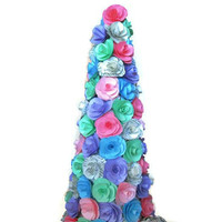 Multicolor Paper Flower Centerpiece,Colorful Paper Rose Cone,Baby Shower Decor,Shabby Chic Table Top,Paper Wedding Decoration,Eco-Friendly