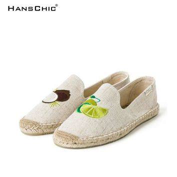 HANSCHIC 2018 New Arrival Beige Fruits Embroidery Design Comfortable Ladies Womens Casual Espadrilles Shoes TB545866446687