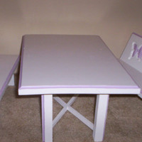 dining kitchen table and two benches Handcrafted for American Girl 18 inch doll white with purple butterflies