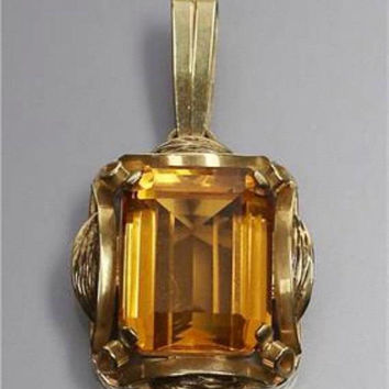 Citrine Pendant, 14K Gold, Art Deco Vintage Jewelry