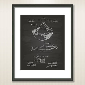 Fishing Net 1920 Patent Art Illustration - Drawing - Printable INSTANT DOWNLOAD - Get 5 colors background