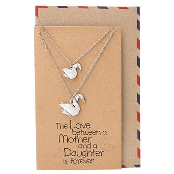 Mayumi Origami Swan Matching Necklaces, Gifts For Mom and Daughter, Set of 2 with Greeting Card
