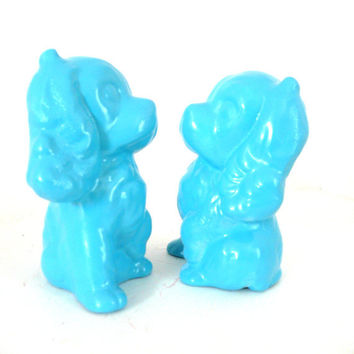 turquoise dog figurine set, dogs, figurines, upcycled ceramics, vintage dogs, home decor
