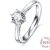LZESHINE New Fashion Elegant Original 925 Sterling Silver Dazzling Wedding Ring Real Engagement CZ Diamond Rings