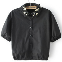 Black Embroidered Beaded Lapel Crop Blouse
