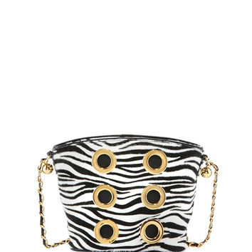Marc Jacobs The Six Zebra Grommet Crossbody Bag, White/Black