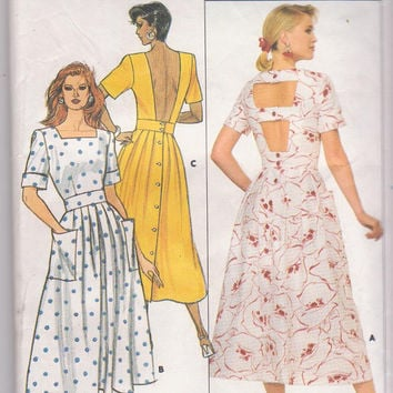 Vintage 1980s pattern for backless summer dress with short sleeves, square neckline, button back misses size 12 14 16 Butterick 3847 UNCUT