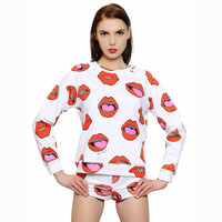 White Lips Print Sweatshirt