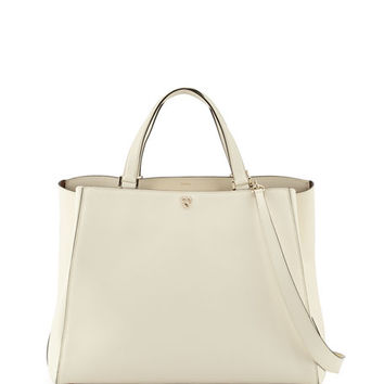 Valextra Triennale Large Leather Top-Handle Bag, White