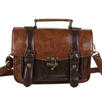 Ecosusi Women Vintage Messenger Bag Leather Satchel Briefcase Handbag