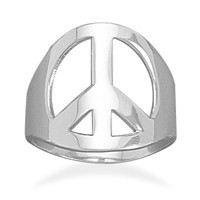 Polished Peace Sign Ring