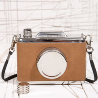 Brown Camera Hipflask at Urban Outfitters