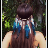 Turquoise Warrior - Feather headband, native american style, indian headband, hippie headband, bohemian headband, wedding veil