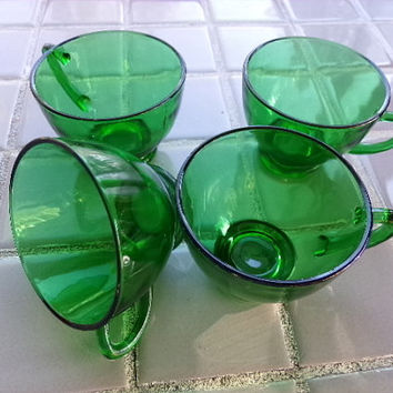 Anchor Hocking Green, set of four, cups, Vintage green coffee cups, Vintage Anchor Hocking green cups, wedding gift, gift for her
