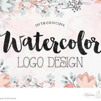 custom logo design watercolor logo design Etsy shop logo photography logo wedding monogram design wordpress blog logo website logo header