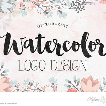 custom logo design watercolor logo design etsy shop logo photography logo wedding monogram design wordpress blog