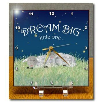 Janna Salak Designs Inspirational Art - Dream Big Little One - Cute Sleeping Sheep - 6x6 Desk Clock (dc_212462_1)