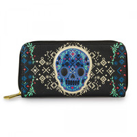 """""""Skull Detail"""" Zip Wallet by Loungefly (Black/Gold)"""