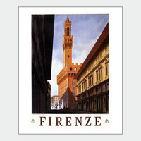 Florence Italy Vintage Travel Poster Print