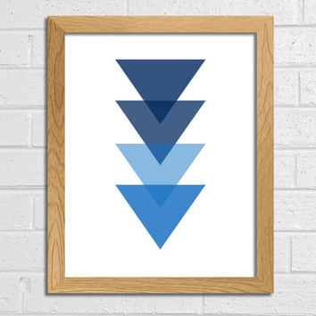 Triangle Art Geometric Print navy blue Triangle Art Printable Art dark blue  Wall Decor Wall Art Home Décor Triangle Abstract Art Print Art