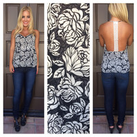 Coming Up Roses Crochet Back Top - BLACK