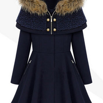Navy Long Sleeve Flare Coat with Cape Hood