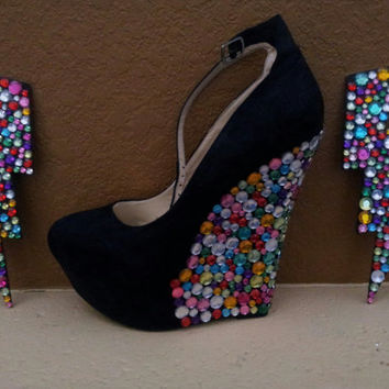Bedazzled wedge shoes size 10