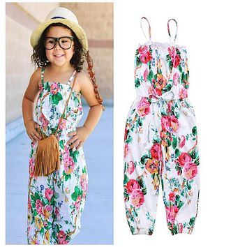 girl a piece clothing Children Floral Strap Sleeveless Overalls kids girl Summer Fashion Outfit Clothes one piece Jumpsuit