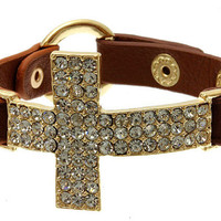 Big brown leather pave rhinestones crystal sideways cross bracelet - gold plated thick chunky simple elegant fashion inspired summer 2013