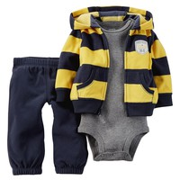 Carter's ''Undefeated'' Stripe Microfleece Hooded Cardigan Set - Baby Boy, Size: