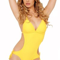 Womens One Piece Padded Push Up Halter Sexy Cutout String Tie Monokini Swimsuit