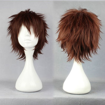 Gin Tama-Hasegawa Taizou 32cm Brown Short Straight Cosplay Wig,Colorful Candy Colored synthetic Hair Extension Hair piece 1pcs WIG-268A
