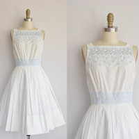 1950s dress/vintage 50s dress/ white cotton full skirt 50s dress