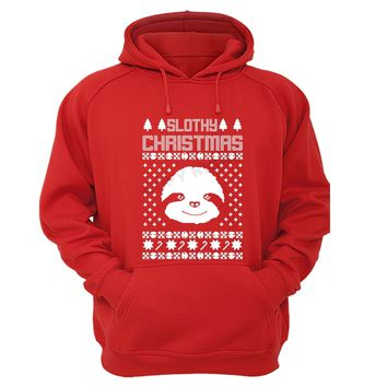 XtraFly Apparel Slothy Xmas Sloth Ugly Christmas Hooded-Sweatshirt Pullover Hoodie
