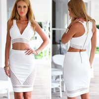 Deep V Short Party Dresses Plus Size Package Hip White Prom Cocktail