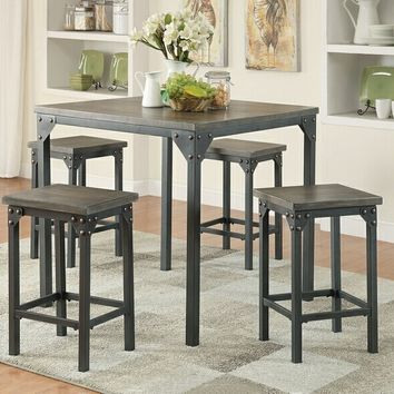 Acme 71645 3 pc Percie dark antique oak finish wood and antique black metal frame counter height dining table set