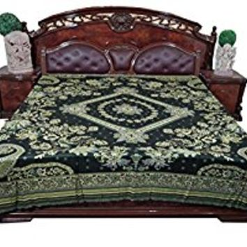 Mogul Indian Tapestry Blanket Throw Floral Black Reversible Bedspread Bedding King