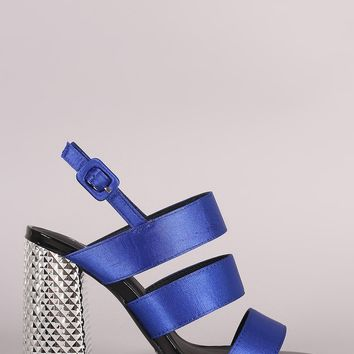 Qupid Satin Strappy Slingback Chunky Embossed-Metallic Heel