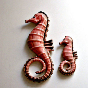 Vintage Ceramic Seahorses Wall Hangings Pinkish Black Sea Horse Wall Decor 1950's Decor
