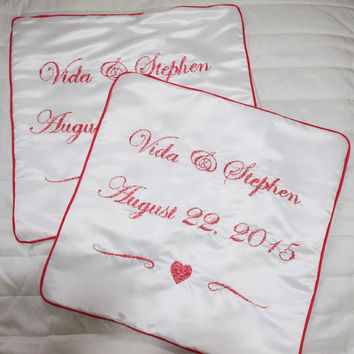 SET OF 2: Wedding Pillowcase, Mr and Mrs Pillowcase, Wedding Date Pillowcase, Bridal Pillow, Wedding Gift, Bridal Shower Gift, Couples' Gift
