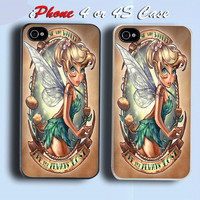 Tinkerbell Character Custom iPhone 4 or 4S Case Cover