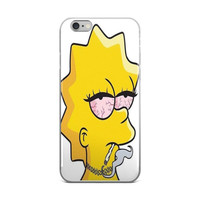 Lisa Simpson Stoned The Simpsons Weed Joint Marijuana Cannabis Mary Jane Hipster Gangsta Lisa White & Yellow iPhone 4 4s 5 5s 5C 6 6s 6 Plus 6s Plus 7 & 7 Plus Case