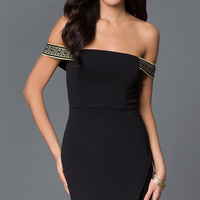 Off the Shoulder Short Black Dress with Asymmetrical Skirt
