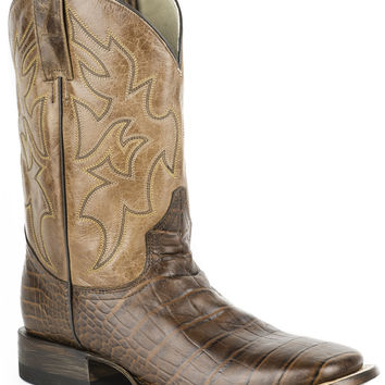 Roper Mens Faux Exotic On Leather Sq Toe Boots Faux Brown Alligator Cognac Shaft