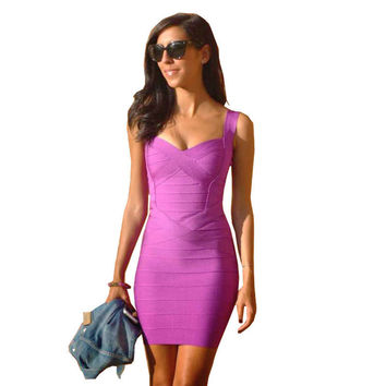 Spaghetti Strap 2014 Sexy Women Bodycon HL Bandage Dress Multi Black White Yellow Orange Purple Blue Red
