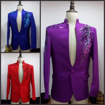 Men Suits (Jacket +pants+tie) Suit male costume Purple sequined male MC host dress stage program costume male singer wedding dress suit