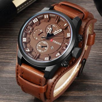 Men Sport Quartz Leather Waterproof  Watch