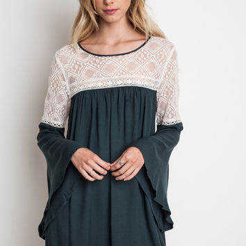 Cherished By Many Bell Sleeved Baby Doll Dress in Hunter Green